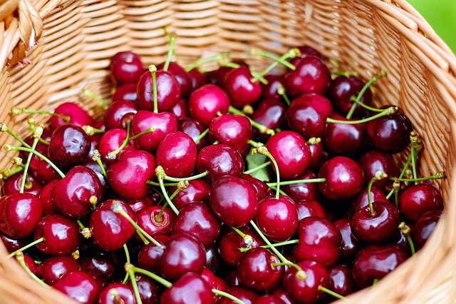 Cherries, Sweet Cherries, Red, Fruit, Healthy, Basket