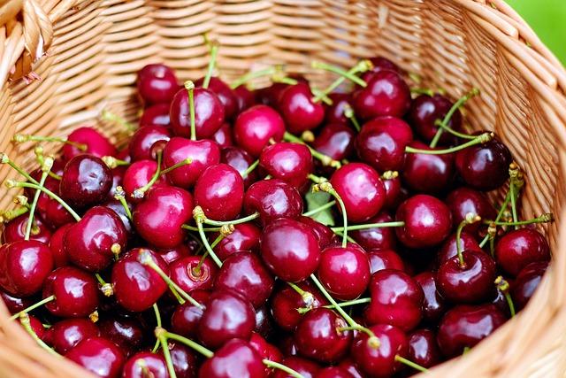 Cherries, Sweet Cherries, Red, Fruit, Healthy, Basket
