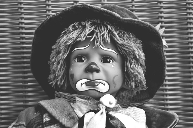 Doll, Clown, Sad, Black And White, Sweet, Funny, Toys