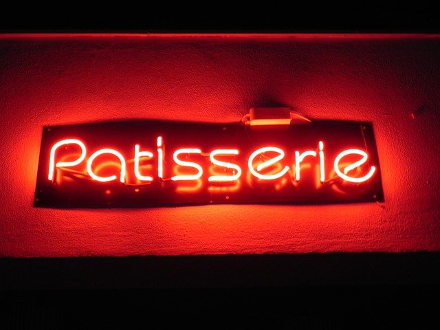 Patisserie, Sign, Neon, Red, Sweetshop, Shop, Sweets