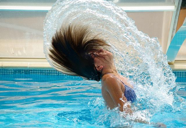 Swimming Pool, Drops Of Water, Black Hair, Swim