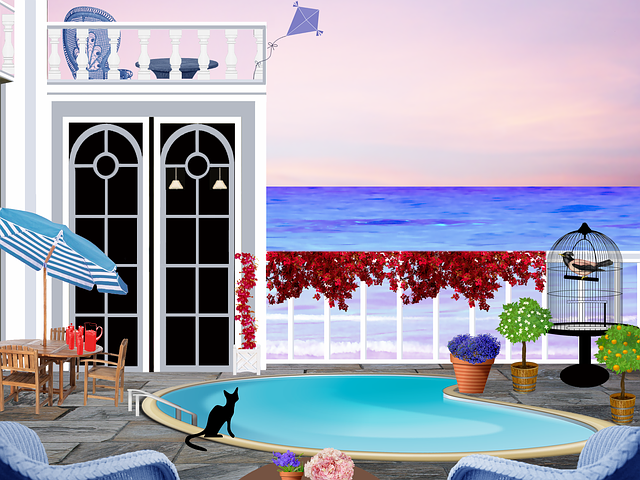 Patio, Swimming Pool, Seaside, Parasol, House