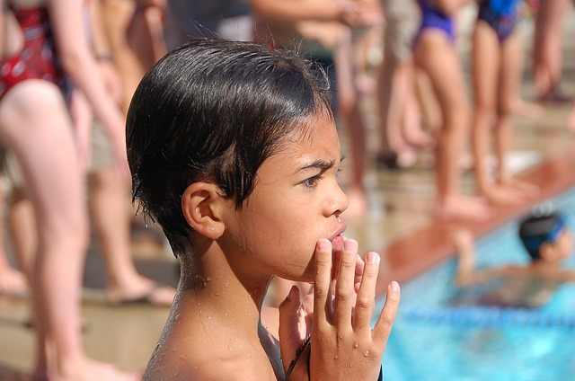 Boy, Child, Thinking, Swimming, Swim Meet, Pensive