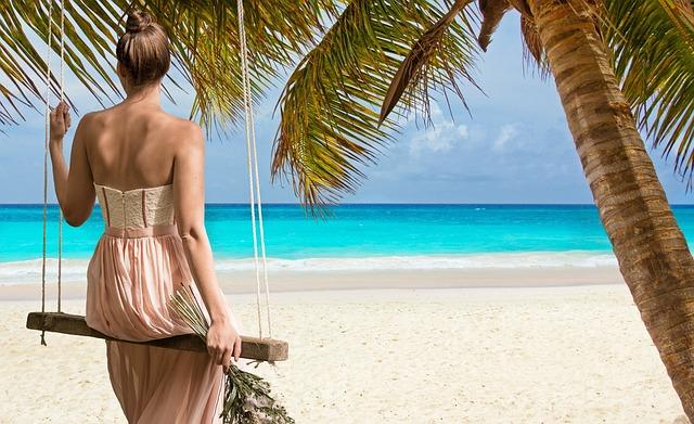 Beach, Woman, Sea, Swing Blue, Coast, Landscape, Ocean