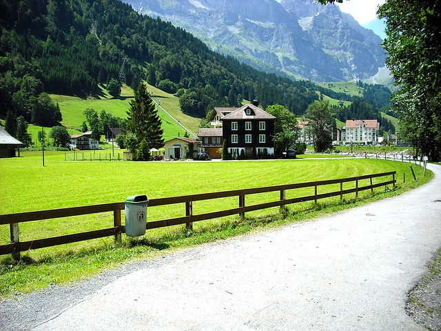 Road Through Village, House In Mountains, Swiss