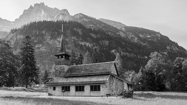 Church, Mountains, Chapel, Switzerland, Wooden Church