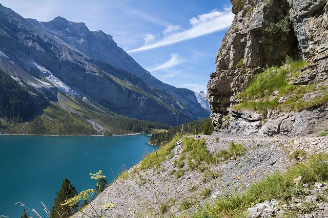 Mountains, Lake, Trail, Hiking, Landscape, Switzerland