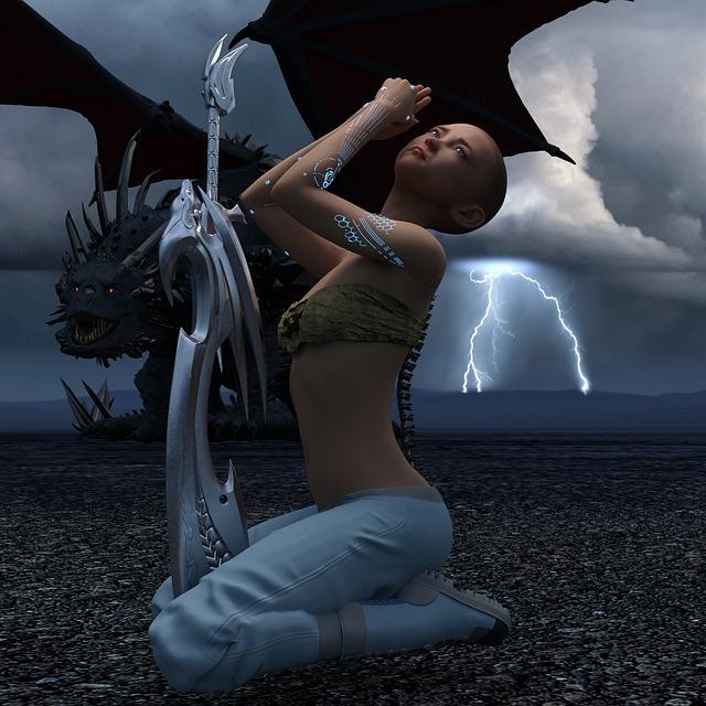 Dragon, Sword, Woman, Fatasy, Flash, Thunder, Storm
