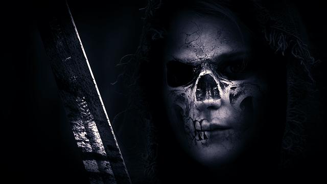 Skull, Hood, Sword, Face, Skeleton, Dark, Black