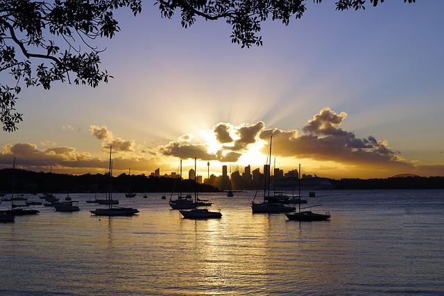 Sydney, Skyline, City, Sunset, Water, Dawn, Reflection