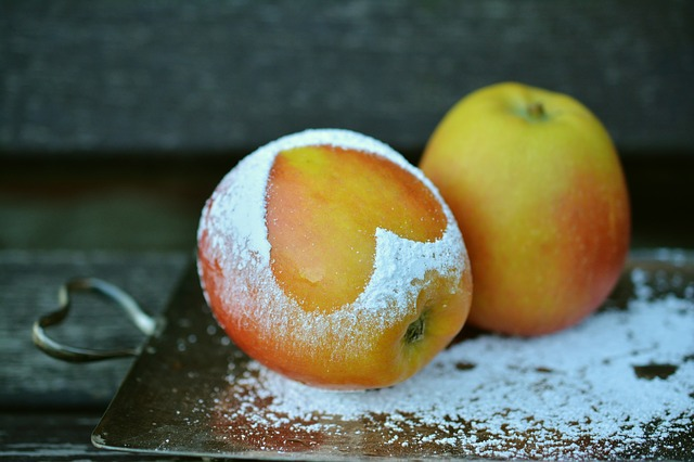 Apple, Heart, Icing Sugar, Symbol, Sweet, Fruit
