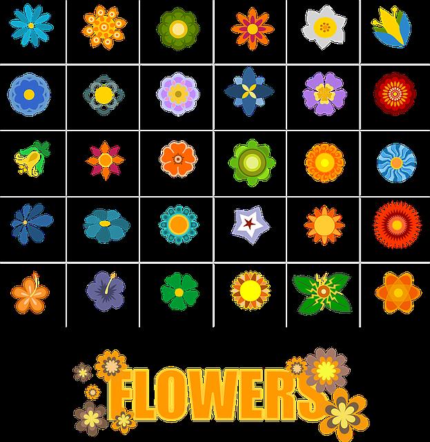 Flower, Shapes, Elements, Symbols, Nature, Icons