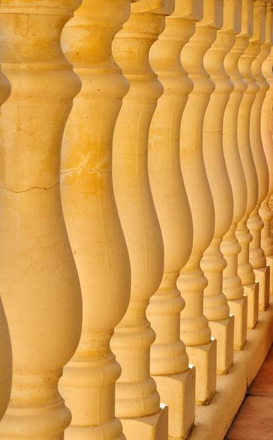 Columns, Balusters, Stones, Symmetry, Architecture