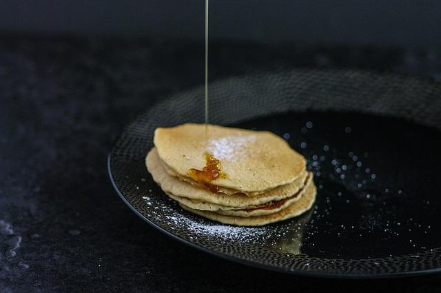 Pancakes, Dripping, Maple, Syrup