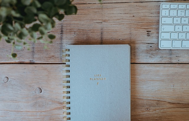 Wooden, Table, Notebook, Planner, Office, Business