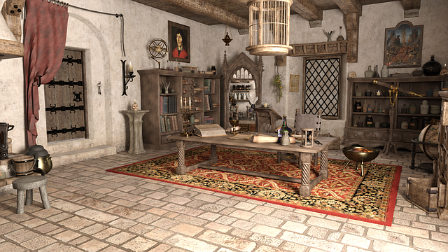 Wizard, Room, Scroll, Table, Cage, Cupboard, Candle