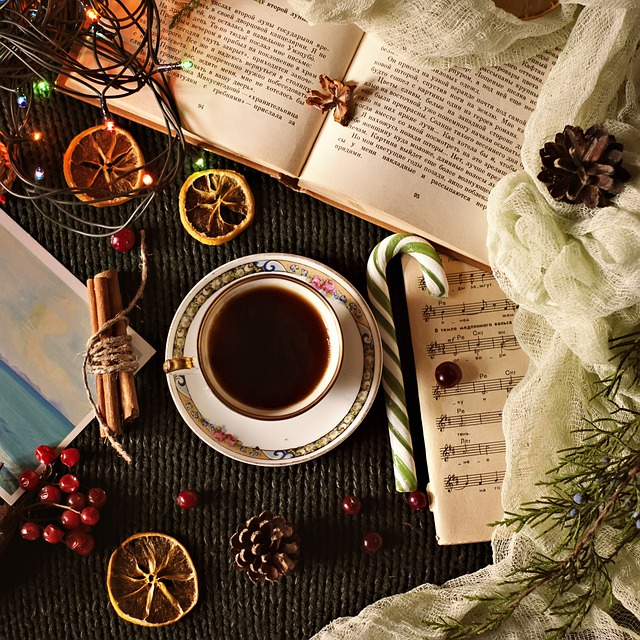 Cup, Drink, Coffee, Christmas, Table, Background, Hot