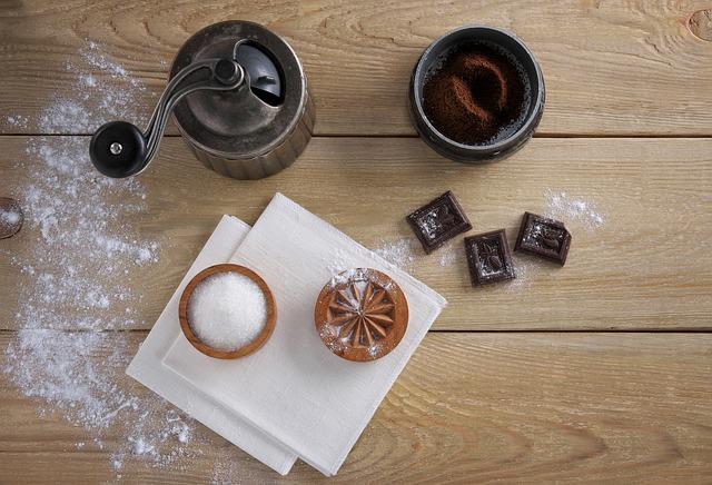 Coffee Grinder, Chocolate, Sugar, Wood, Table, Coffee