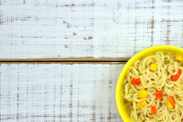 Soup, Noodles, Instant, Table, Vegetable, Corn, Carrot