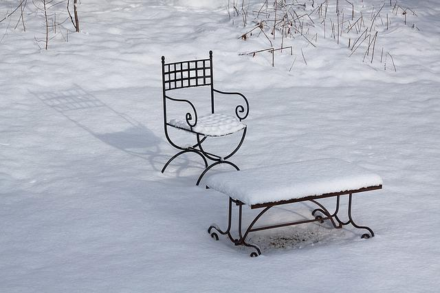 Winter, White, Chair, Garden, Garden Chair, Table