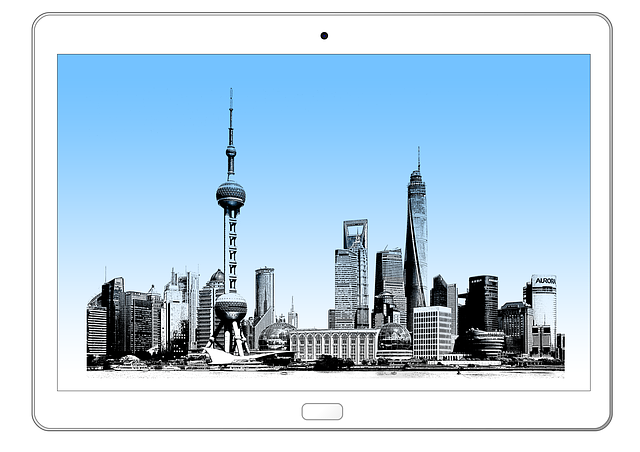 Tablet, Technology, Shanghai, China, Asia, Skyline