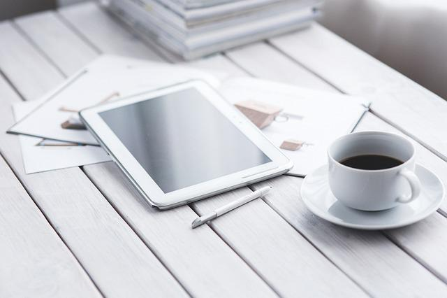 Tablet, Digital, Technology, Working, Coffee, White