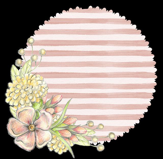 Floral, Flower, Pink, Tag, Soft, Pastel, Stripe
