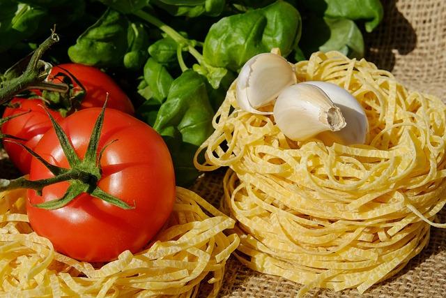 Noodles, Tagliatelle, Pasta, Raw, Tomatoes, Basil, Food