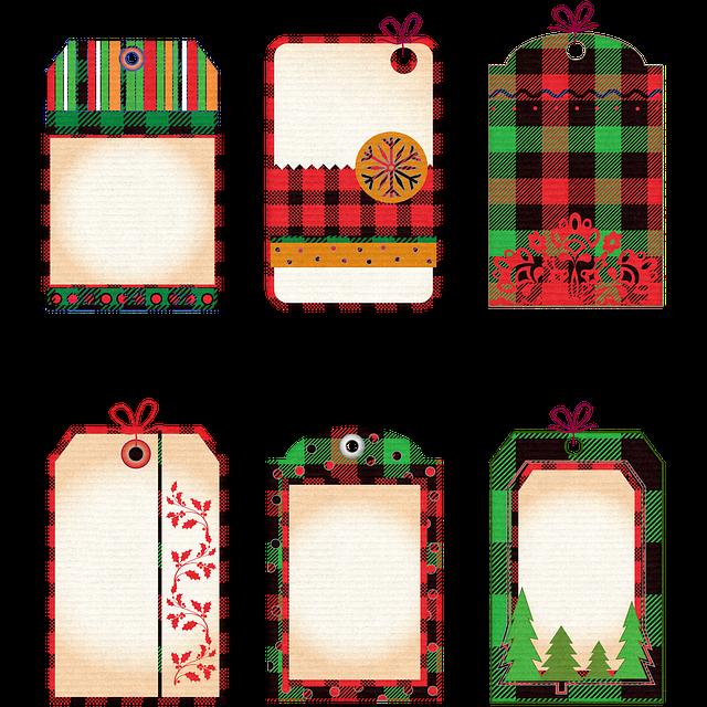Christmas, Tags, Buffalo Plaid, Plaid, Labels, Xmas