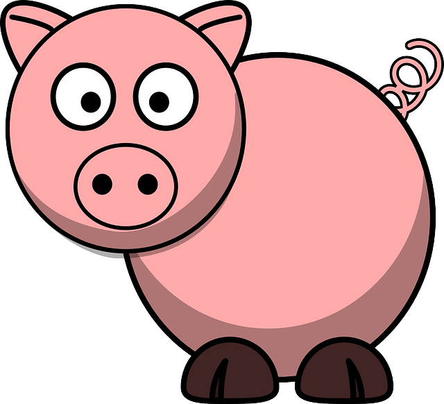 Pig, Animal, Farm, Tail, Lucky, Cartoon