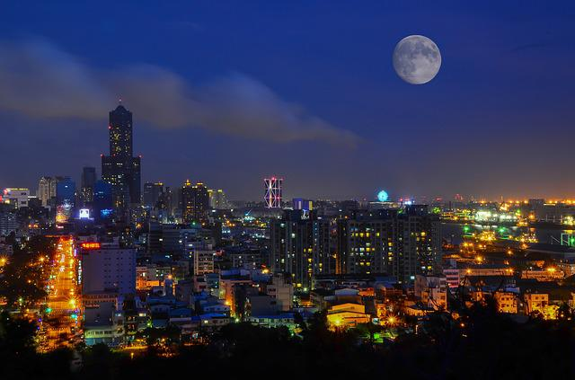 The Urban Landscape, Kaohsiung, Taiwan, Moon, City