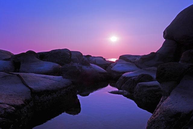 Taiwan, Keelung, Sunrise, Peace Island, Coast, Stone