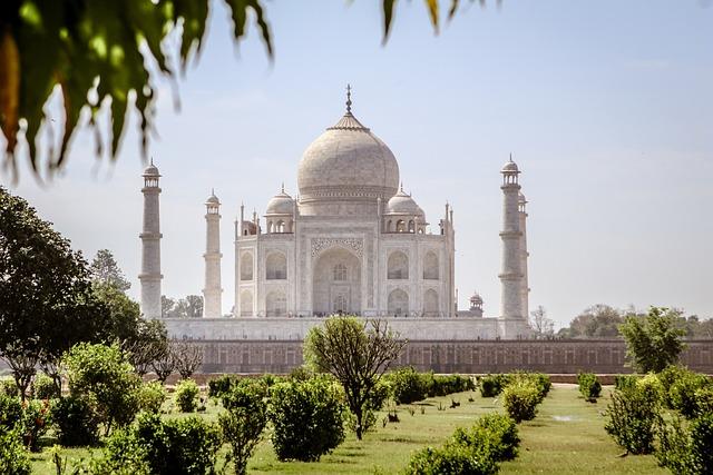 Taj Mahal, India, Monument, Weltwunder, Park, Nature