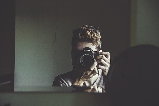 Camera, Man, Mirror, Taking Photo