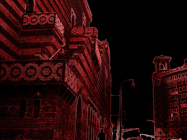 Buildings, Architecture, Tall, Inverted Color, Red