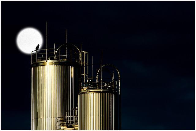 Industry, Tank, Night, Moon, Cat, Silhouette, Moonlight