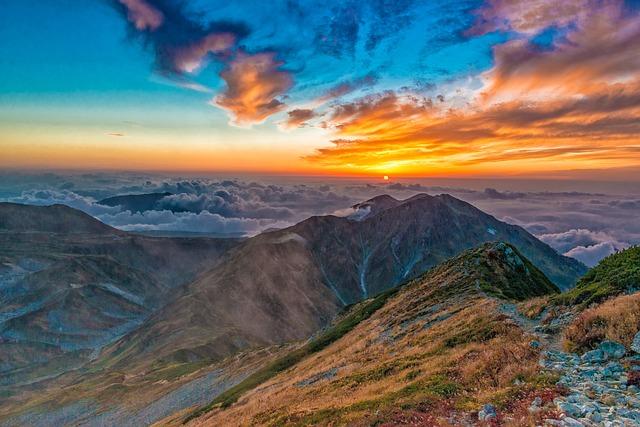 Sunset, Mountain, Tateyama, Northern Alps, Sky