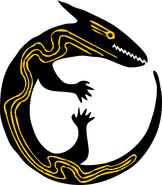 Lizard, Reptile, Round, Animal, Yellow, Black, Tatoo