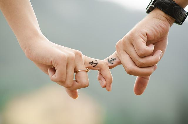 Couple, Hands, Tattoos, Fingers, Intertwined