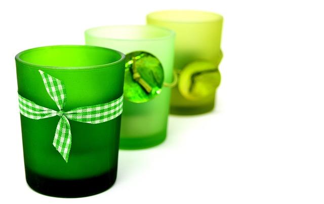 Tea Light Holder, Glasses, Light, Windlight, Green