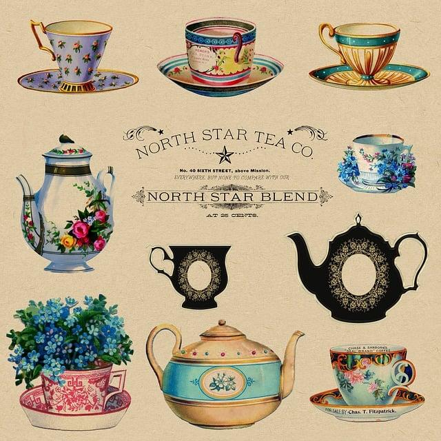 Teacups, Vintage, Retro, Teapot, Advertisement, Floral