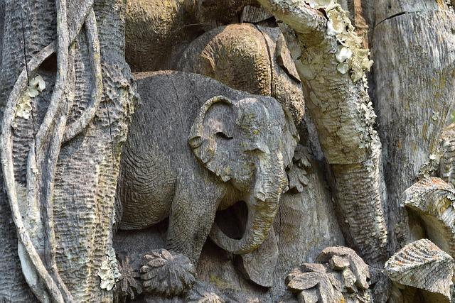 Wood Carving, Elephant Carving, Teak Wood, Carving