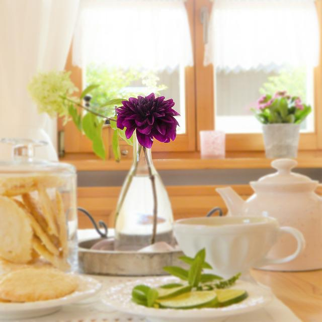 Table, Covered, Flower, Dahlia, Teapot, Cup, Lemons