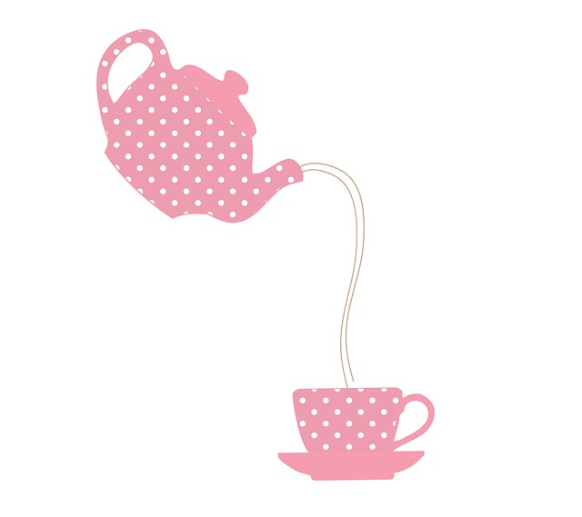 Teapot, Teacup, Polka Dots, Pink, White, Whimsy