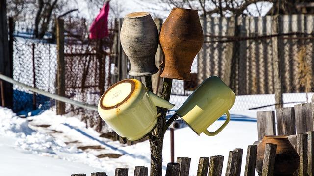 Pot, Vase, Teapot, Garden, Fence, Snow, Exclusion Zone