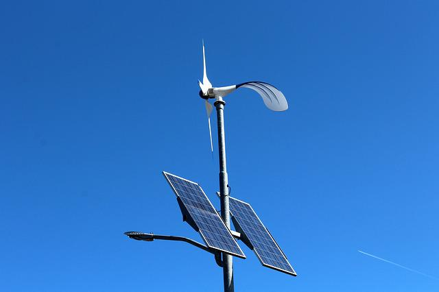 Solar Battery, Sky, Blue, Wind, Technology