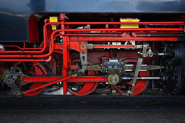 Steam Locomotive, Close Up, Linkage, Technology