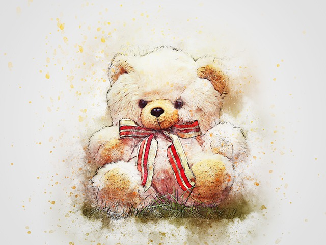 Teddy, Bear, Sitting, Art, Abstract, Watercolor