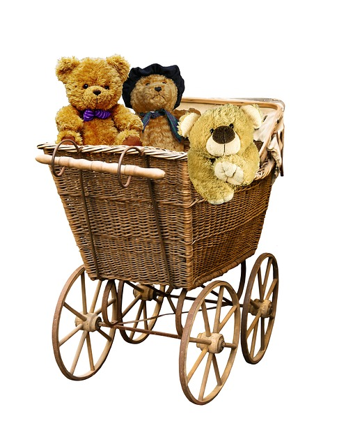 Baby Carriage, Old, Nostalgia, Teddy, Teddy Bears
