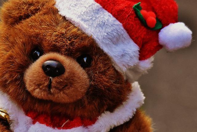 Christmas, Greeting Card, Teddy, Santa Hat, Plush, Cute
